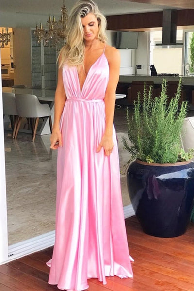 Simple A-Line Spaghetti Straps Satin Prom Dress Custom Made Fashion Pink Formal Gowns Long Evening Dresses PD398
