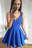 Simple V-Neck Royal Blue Short Prom Dress Custom Made Short Satin Homecoming Dress Fashion Short School Dance Dress PDS047