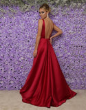 Simple Long V-Neck Prom Dress Custom Made Long Open Back Evening Gowns Fashion Long School Dance Dress Women's Pagent Dresses PD947
