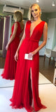 Sexy Deep V-Neck Long Prom Dress Custom Made Long Side Slit Evening Gowns Fashion Long Red Tulle School Dance Dresses PD707