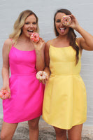 Simple Yellow Spaghetti Straps Short Prom Dress Custom Made Short Satin Homecoming Dress Fashion Short Backless School Dance Dress PDS052
