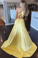 Simple Sexy Long High Side Slit Prom Dresses Fashion Long Evening Gowns Custom Made Long School Dance Dress Women's Pagent Dresses PD984