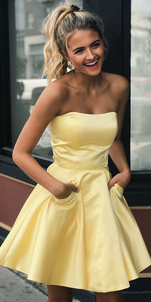 Simple Short Strapless Homecoming Dresses 2020, Custom Made Short Prom Dresses, Fashion Short School Dance Dresses, Sweet 16th Dresses, HD235