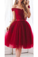 Simple Off Shoulder Tulle Short Prom Dress 2019 Custom Made Short Party Dress Cute Knee Length Homecoming Dress Fashion Short Graduation Party Dress PDS009