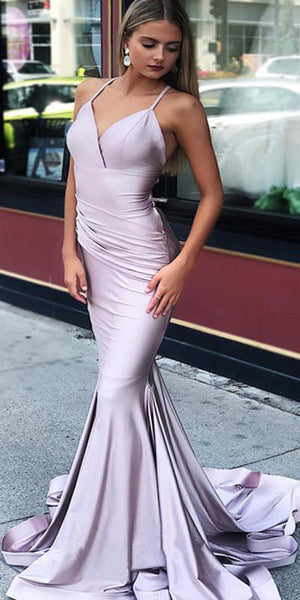 Simple Sexy Mermaid Spaghetti Straps Backless Prom Dress 2019 Custom Made Satin Evening Party Dress Fashion Long School Dance Dress Women's Pageant Dress PD590