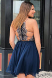 Plus Size Spaghetti Straps Beaded Short Homecoming Dress Custom Made Cute Navy Cocktail Party Dress Fashion Short Chiffon Beadings School Dance Dresses Sweet 16th Dress HD120