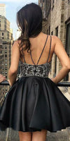 Sparkly Beaded Black Short Homecoming Dress with Spaghetti Straps Custom Made Cute Cocktail Party Dress Fashion Short Satin Beadings School Dance Dresses Sweet 16th Dress HD124
