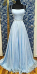 Spaghetti Straps Long Blue Prom Dress with Beaded Waist Custom Made Long Evening Gowns Fashion Long School Dance Dress Fashion Formal Dresses PD839