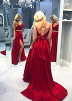 Spaghetti Straps Long 2 Pieces Prom Dress Custom Made Long High Side Slit Evening Party Dress Fashion Long School Dance Dress PD808