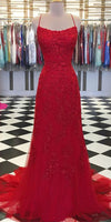 Spaghetti Straps Long Tulle Appliques Prom Dress Custom Made Long Evening Gowns Fashion Long School Dance Dress PD822
