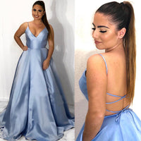 Simple Long Spaghetti Straps Prom Dress with Pockets Custom Made Long Evening Party Dress Fashion Long School Dance Dress Sweet 16th Dress PD834