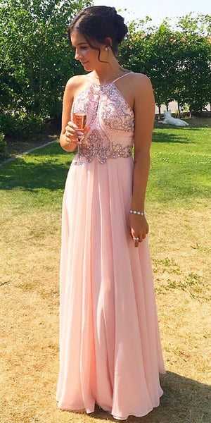 Spaghetti Straps Beaded Long Prom Dress Custom Made Long Chiffon Beadings Evening Gowns Fashion Long School Dance Dress Women's Formal Dresses PD857