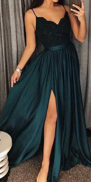 Spaghetti Straps Side Slit Prom Dress Custom Made Sexy V-Neck Evening Party Dress Fashion Floor Length School Dance Dress Pageant Dress for Girls PD555