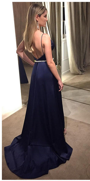 Spaghetti Straps Long Prom Dress with Beaded Waist Custom Made Long Side Slit Evening Gowns Fashion Long School Dance Dress PD788