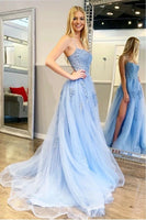 2020 Blue Tulle Appliques Prom Dress Fashion Long Side Slit Evening Gowns Custom Made Long School Dance Dress Women's Pagent Dresses PD967