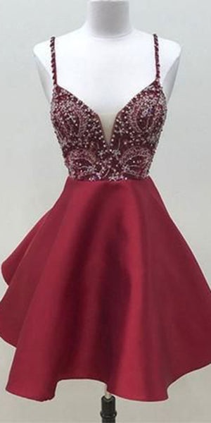 Burgundy Beaded Spaghetti Straps Short Homecoming Dress Custom Made Cute Cocktail Party Dress Sweet 16th Dresses Fashion Short Satin Beadings School Dance Dresses HD092