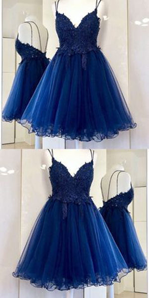 Spaghetti Straps Short Tulle Appliques Homecoming Dress Custom Made Cute Short Cocktail Dress Fashion Short School Dance Dresses Short Women's Fashion Dresses HD163