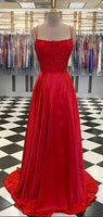 Spaghetti Straps Long Red Appliques Prom Dresses Fashion Long Evening Gowns Custom Made Long School Dance Dress Women's Pagent Dresses PD0050