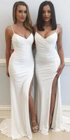 Sexy Spaghetti Straps Long Side Slit Bridesmaid Dress 2020 Custom Made Fashion Long Wedding Party Dresses BD120
