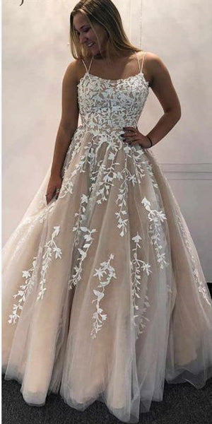 Spaghetti Straps Long Beaded Tulle Appliques Prom Dress 2020 Fashion Long Evening Gowns Custom Made Long School Dance Dress Women's Pagent Dresses PD974