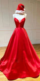 Spaghetti Straps Long Prom Dresses Fashion Long Red Evening Gowns Custom Made Long School Dance Dress Women's Pagent Dresses PD0016