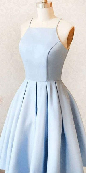 Simple Short Light Blue Homecoming Dress 2020, Custom Made Cute Cocktail Dress, Fashion Short Spaghetti Straps School Dance Dresses, Sweet 16th Dresses, HD227