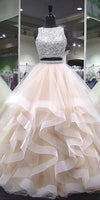 Sparkly Beaded Long Two Pieces Quinceanera Dress 2019 Custom Made Tulle Beadings Prom Gowns Fashion Long Two Pieces Graduation Party Dress Beaded School Dance Dress Pageant Dress for Girls QD004