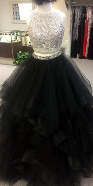 Sparkly Beaded Long Two Pieces Quinceanera Dress 2019 Custom Made Tulle Beadings Sweet 16th Dress Fashion Long 2 Pieces Graduation Party Dress Beaded School Dance Dress Pageant Dress for Girls QD005