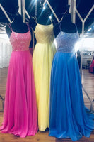 Sparkly Beaded Prom Dress with Spaghetti Straps Custom Made Chiffon Beadings Evening Party Dress Fashion Backless School Dance Dress Pageant Dress for Girls PD601