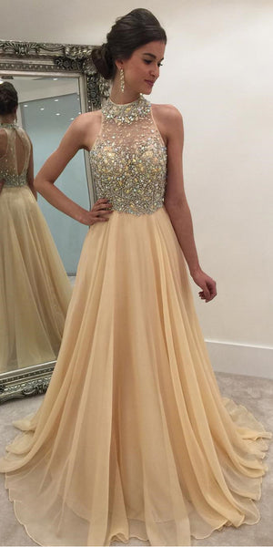 High Neck Beaded Long Prom Dress Custom Made Long Chiffon Beadings Evening Gowns Fashion Long Open Back School Dance Dress PD787