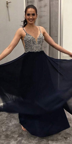 Sparkling Beaded Long Prom Dress with Straps Custom Made Long Beadings Evening Party Dresses Fashion Long School Dance Dresses PD723