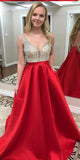 Sparkly Beaded Long Prom Dress Custom Made Long Red Evening Dress Fashion Long Beadings School Dance Dress PD827