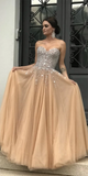 Sparkly Beaded Long Prom Dress Custom Made Long Sweetheart Beadings Graduation Party Dresses Fashion Long School Dance Dress Women's Pagent Dresses PD940