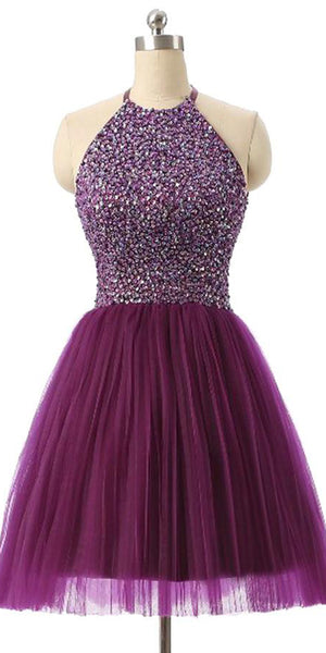 Sparkly Beaded Tulle Homecoming Dress Custom Made Cute Short Cocktail Dress Fashion Short Open Back School Dance Dresses Short Women's Fashion Dresses HD189