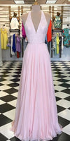 Sparkly Beaded Long V-Neck Prom Dress Custom Made Long Chiffon Beadings Evening Gowns Fashion Long School Dance Dress Women's Pagent Dresses PD933