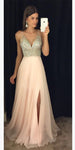 Sparkly Beaded Long V-Neck Prom Dress with Side Slit Custom Made Long Chiffon Beadings Evening Gowns Fashion Long School Dance Dress Women's Pagent Dresses PD934
