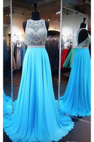 Sparkly Beaded Blue Chiffon Prom Dress Custom Made Long A-Line Evening Gowns Fashion Beadings Graduation Party Dresses PD446
