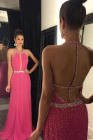 Sparkly Halter Beaded Prom Dress Long Custom Made Fashion Backless Evening Party Gowns PD340