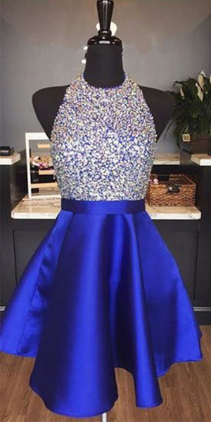 Halter Beaded Royal Blue Short Homecoming Dress 2019 Custom Made Satin Beadings Cocktail Dress Fashion Sequins Sweet 16th Dress Short School Dance Dress HD072