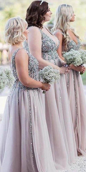 Sparkly Beaded V-Neck Long Bridesmaid Dress Custom Made Fashion Long Sequined Tulle Wedding Party Dresses BD106