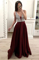 Sparkly Beaded Long V-Neck Prom Dresses 2020 Fashion Long Sequined Evening Gowns Custom Made Long School Dance Dress Women's Pagent Dresses PD987