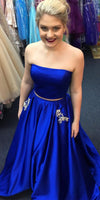 Strapless Long 2 Pieces Royal Blue Prom Dress Custom Made Long Draduation Party Dress Fashion Long School Dance Dress Women's Formal Dresses PD860