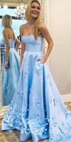 Strapless Long Prom Dress Custom Made Long Blue Evening Gowns Fashion Long School Dance Dress Women's Pagent Dresses PD899