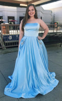 Strapless Long Plus Size Prom Dress with Beaded Pockets Custom Made Long Evening Dresses Fashion Long Blue School Dance Dresses PD771