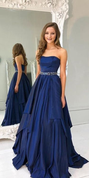 Strapless Long Prom Dress with Beaded Waist Custom Made Long Beadings Evening Gowns Fashion Long School Dance Dress Women's Pagent Dresses PD895