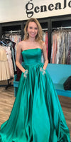 Strapless Long Prom Dress with Beaded Pockets Custom Made Long Evening Gowns Fashion Long School Dance Dress PD784