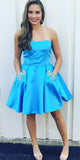 Strapless Blue Short Prom Dress with Beaded Pockets Custom Made Short Satin Homecoming Dress Fashion Short School Dance Dress PDS051