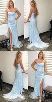 Strapless Tulle Appliques Prom Dress Long 2020 Fashion Long Side Slit Evening Gowns Custom Made Long School Dance Dress Women's Pagent Dresses PD978