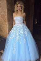 Strapless Long Beaded Tulle Appliques Prom Dress 2020 Fashion Long Evening Gowns Custom Made Long School Dance Dress Women's Pagent Dresses PD975