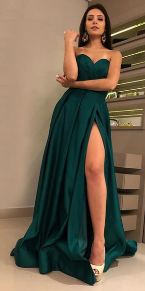 Sweetheart Long Prom Dress 2020 Sexy Long High Side Slit Evening Gowns Custom Made Long School Dance Dress Women's Pagent Dresses PD956